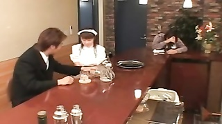 Buxomy Japanese Waitress Screwed In Public