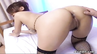 Japanese Stunner Dildoed In Arse And Cunny