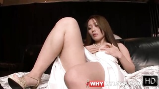 Masturbating Japanese Girl In White Satin Wedding Dress