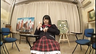 Kawaii Megane Schoolgirl Plays With Herself In The Art Room