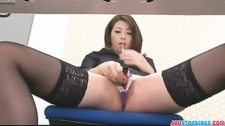 Hojo Toying Her Honeypot  During An Office Assembly