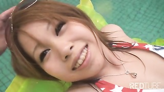 Japanese Chick Creampied By The Pool