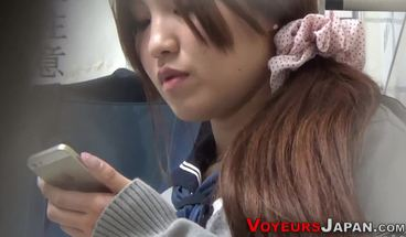 Uniformed Japanese Teen Babe Fingers Her Pussy In Public