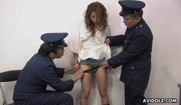 A Sexy Prisoner Getting Her Wet Pussy Handled By Guards