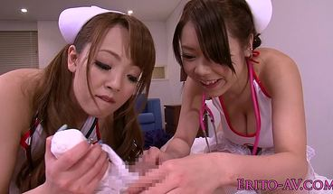 Busty Japanese Cosplay Nurses In Medical Fetish Threeway Fun