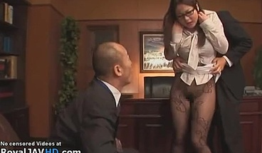 Jav Busty Secretary In Pantyhose Has Wild Threesome Sex